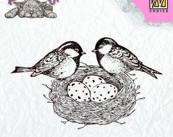 Stamp clear transparent scrapbooking NELLIE's CHOICE birds nest eggs