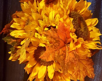 Sunflower, Autumn Leaves Hanging Wreath/Kissing Ball