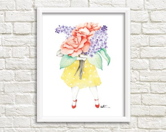 Pink and lilac florist illustration / poster 8 x 10 female giant flower bouquet / Reproduction watercolor drawing / Katrinn Pelletier