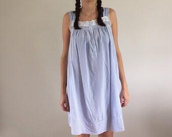 Vintage Blue & White Pinstripe Cotton Batiste Sundress / Night Dress