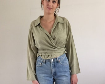 Vintage 90s Light Olive Cropped Woven Cotton Front Wrap Blouse
