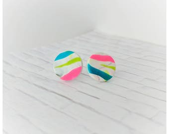 multi color earrings graffiti earrings clay jewelry student gift for her nickel free earrings lightweight earrings graffiti jewelry neon