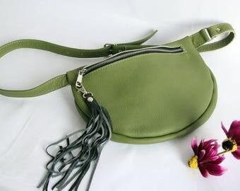 Green Leather Belt bag,  Leather Pocket Belt, Fanny Pack Leather, Hip Bag, Leather Pouch, Green Fanny Pack, Leather Woman Bag, NO 22