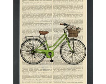Retro green bike with basket Dictionary Art Print