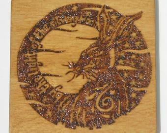 Decorative Wood Burned Moon Gazing Hare Coaster