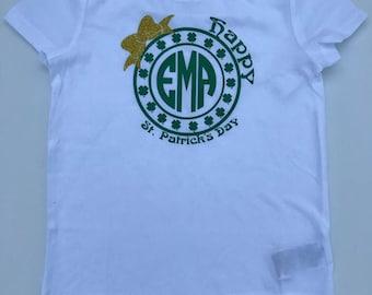 Monogrammed St. Patrick day t-shirt- St. Patrick's Day Shirt, Irish T-Shirt, St. Patrick's Day T-shirt- Girls tee shirt