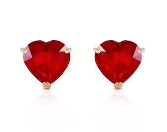 Ruby Earrings/ Ruby Stud Earrings/ Ruby Stud Earrings/ Heart Earrings/ 14k Solid Gold Ruby Earrings/ Natural Ruby/ White Gold Earrings