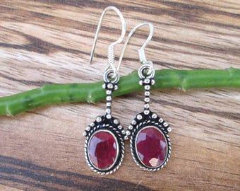 SALE!! Ruby Gemstone Earrings,Silver Ruby Earrings, Christmas-Wedding-Anniversary-Birthday-Lucky For Her-Gift For Girlfriend Earrings18