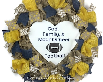 WVU Burlap Wreath, Mountaineer Wreath, WVU Mountaineers Wreath, West Virginia Wreath, West Virginia Wreath, MeriMesh Designs, WVU Decor