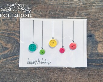 Happy Holiday Button Card - 5x7