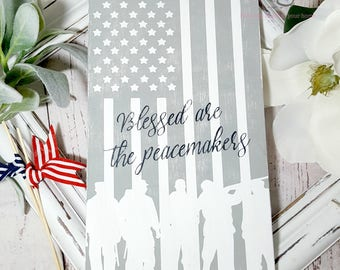 Patriotic American flag, military, veterans day, memorial day, 4th of july wood sign decor