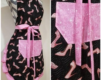 Adult apron. Woman's apron. Fancy glittery stiletto heels on black with glittery pink pocket, ties and frills. Super fast shipping.