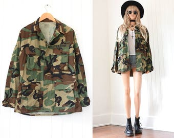Vintage Military Jacket US Army Green Camo 70s Army Jacket Grunge Army Shirt 90s Grunge Military Jacket Grunge Clothing Vintage Camo Jacket