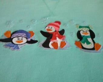 Winter Penguin Trio  Embroidered  Sweatshirt