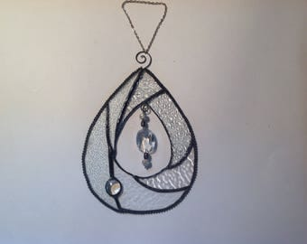 Tear Drop Clear Suncatcher with Crystal