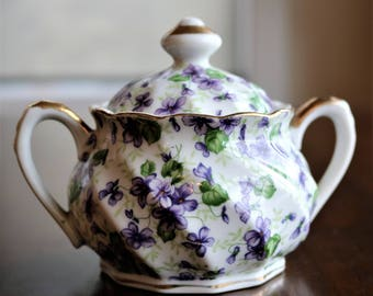 Vintage Lefton Violet Chintz Covered Sugar Bowl