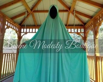 Islamic Free Size High Low Overhead Mint Khimar Prayer Dress