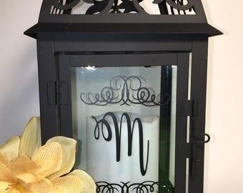 Decorative Black Lantern with Monogram & Scrolls or Split Monogram, Monogrammed Lantern, Wedding, Centerpiece, Gift