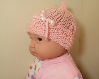 knit/crochet  baby pink hat and booties 0-3 mos
