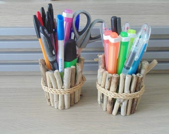 Driftwood - set of 2 pens - jars - deco sea - pens storage compartments