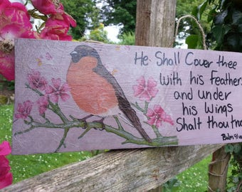 "Bible verse sign, uplifting gift, Bullfinch"" He shall cover you with his feathers"" , rustic home decor, shabby chic, Inspirational gift."