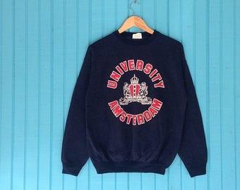 Sale 15% Rare !! Vintage 90s UNIVERSITY  Amsterdam Big Logo Print Crewneck Medium Size #B2
