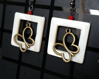 mother of Pearl and butterfly earrings