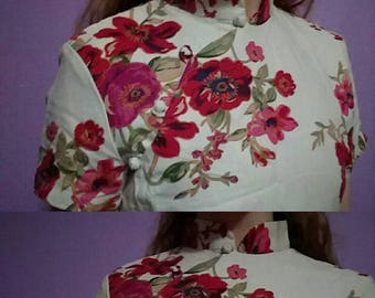 1970s Floral Rose Long Day Dress
