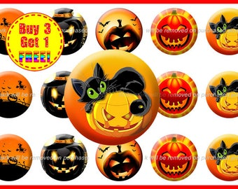 Halloween Bottle Cap Images - Halloween Images - Instant Download - High Resolution Images - Buy 3, Get 1 FREE (Hal2)