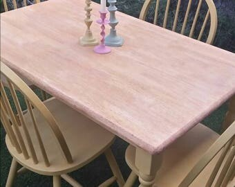 Upcycled dining table and chairs hand painted in Dijon yellow