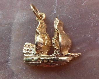 Pendant sailing ship silver 925 gold plate 22 K Ship pendant gift for him birthday gift pendant ship gift for wife