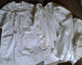 3 Antique baby dresses 1 bonnet