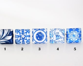 Rings ROYAL AND BLUE / choice of pattern / personalized / resin / trend / flower