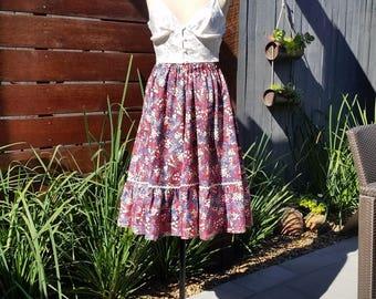 Handmade and Vintage Floral Prairie Skirt