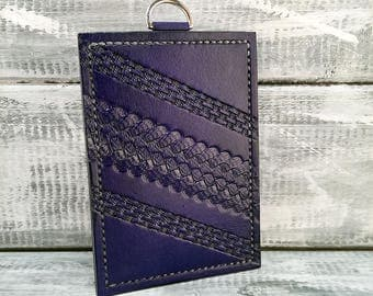 Leather business card holder / leather card case credit card holder ID Badge Holder ID card holder id wallet travel pass holder Royal Blue