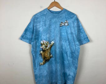90s Tie Dye T Shirt Size XL, Blue Tie Dye T Shirt