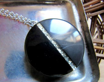 Long necklace with vintage button pendant reclaim Pendant