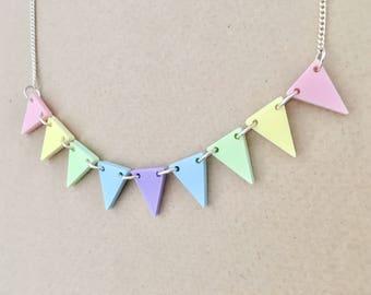 Pastel Bunting Acrylic Necklace