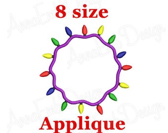 Christmas Lights Applique embroidery Design. Christmas Lights Border. Round Frame. Light Frame. Christmas applique. Merry Christmas.