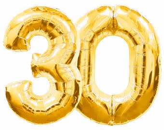 """Giant 40"""" inch 30 Balloon Number, Gold/Silver,  Birthday Balloon, Dirty Thirty, Birthday Party, 30th Birthday, Anniversary, Balloon Banner"""