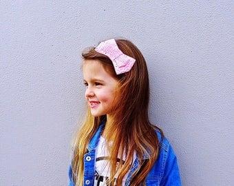 Peach double bow headband