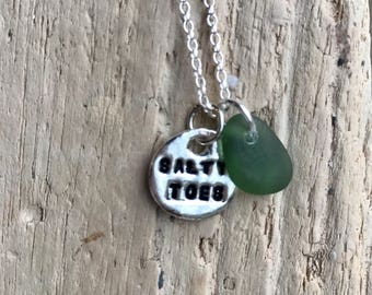 Sterling Silver Disc and seaglass pendant    Salty toes charm and sea glass necklace   Silver Tag necklace with beach glass