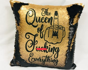 The QUEEN of f*cking Everything, Mermaid Pillow Reversible Sequin pillow, insert, personalized, your text, hidden message, cushion, mature