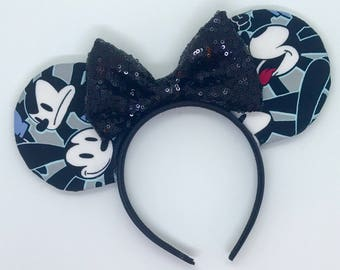 Oswald the Lucky Rabbit mouse ears with black sequin bow