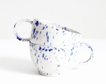 blue spotty coffee cup, mug, shiny, wheel thrown, handmade, ceramic, glazed