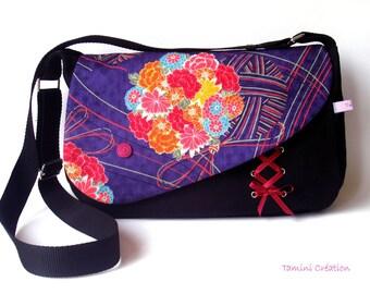 Sac besace, sac à main femme tissu japonais fleuri Ayuka violet