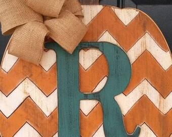 Momagram pumpkin with chevron print