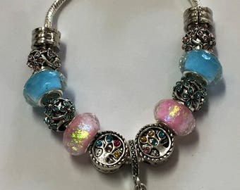 Pink and blue family tree love European charm bracelet
