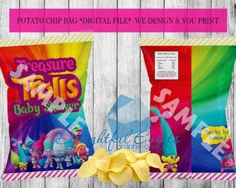 Trolls Birthday or Baby Shower Custom Printable Chip/Treat/Snack Bag