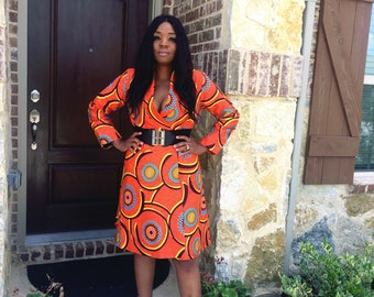 SALE-African Print Wrap Around Dress